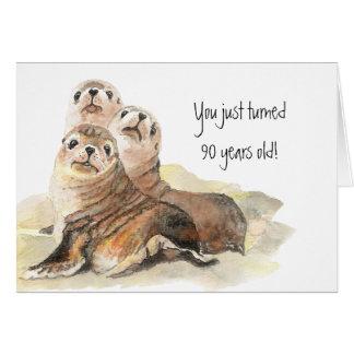 """Fun 90th Birthday """"Don't grow up """" Cute Seals Card"""