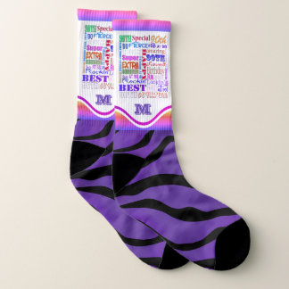 Fun 90th Birthday Party Personalized Monogram Socks
