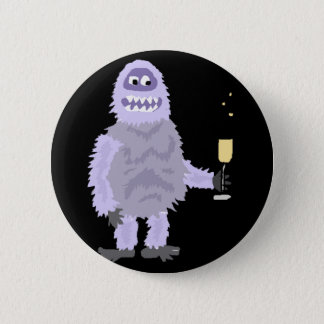 Fun Abominable Snowman Celebrating with Champagne 2 Inch Round Button