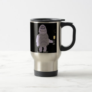 Fun Abominable Snowman Celebrating with Champagne Travel Mug