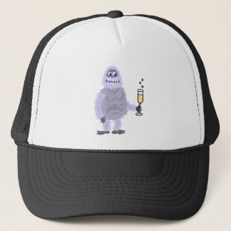 Fun Abominable Snowman Celebrating with Champagne Trucker Hat