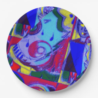 Fun Abstract Art on Paper Plates 9 Inch Paper Plate