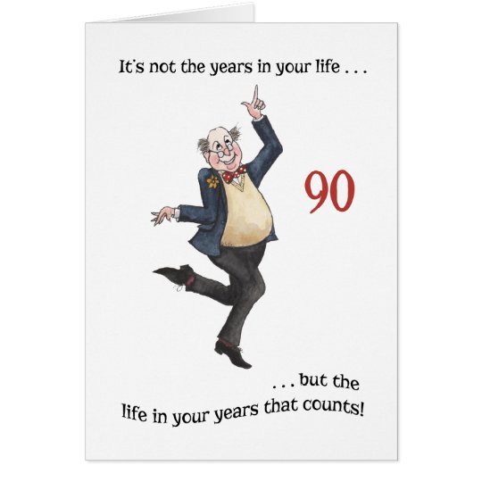 Fun Age-specific 90th Birthday Card for a Man