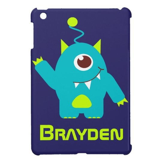 Fun alien face case aqua blue name mini case iPad mini cases