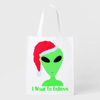 Fun Alien Santa Geek Humor LGM Christmas Holiday Grocery Bags