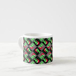 Fun Alien Santa Geek Humor LGM Christmas Pattern Espresso Cup