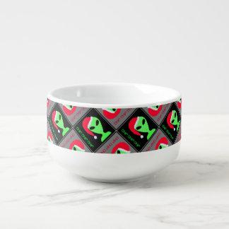 Fun Alien Santa Geek Humor LGM Christmas Pattern Soup Mug