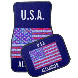 Fun American Flag Red White And Blue USA Custom Floor Mat