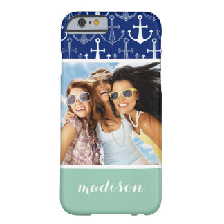 Fun Anchor Pattern | Your Photo & Name Barely There iPhone 6 Case