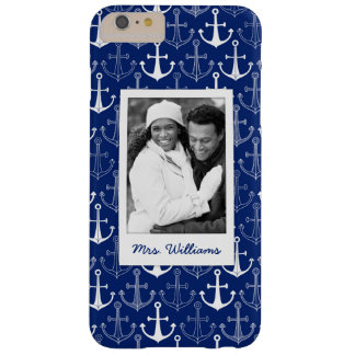 Fun Anchor Pattern | Your Photo & Name Barely There iPhone 6 Plus Case