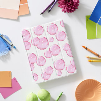 Fun and Awesome Pink Bubbles on White iPad Cover
