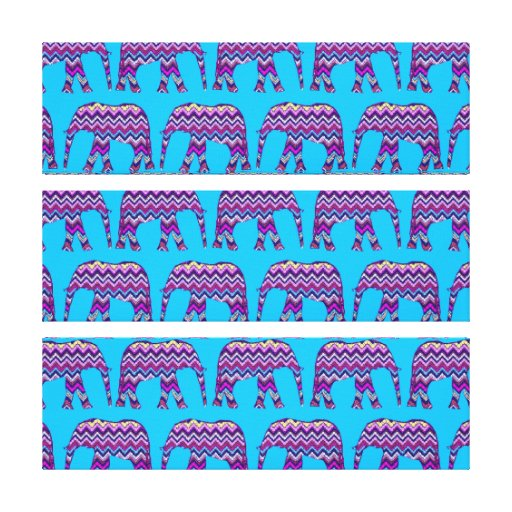 Fun and Bold Chevron Elephants on Teal Gallery Wrapped Canvas