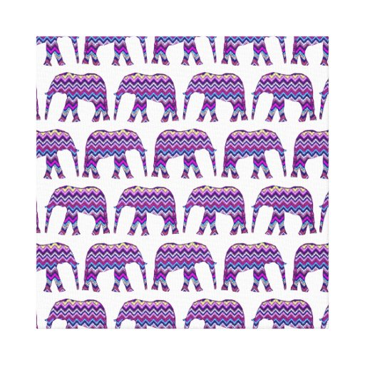 Fun and Bold Chevron Elephants on White Gallery Wrap Canvas