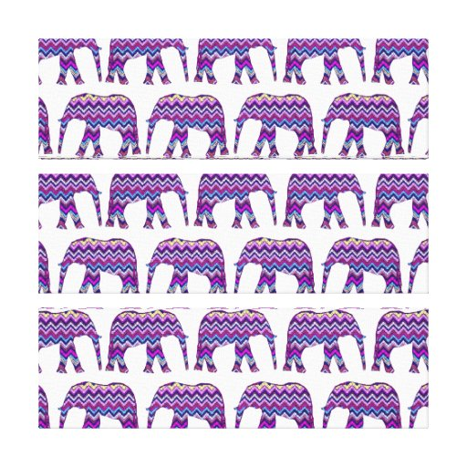 Fun and Bold Chevron Elephants on White Stretched Canvas Prints