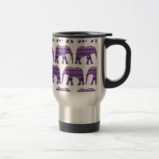 Fun and Bold Chevron Elephants on White Coffee Mug
