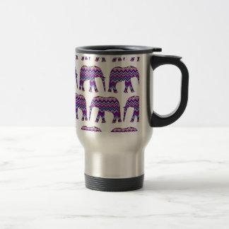Fun and Bold Chevron Elephants on White Travel Mug