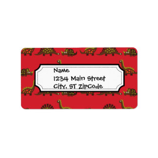 Fun and Colorful Dinosaur Pattern Address Label