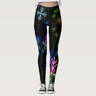 Fun and Colorful Snowflakes on Black Leggings