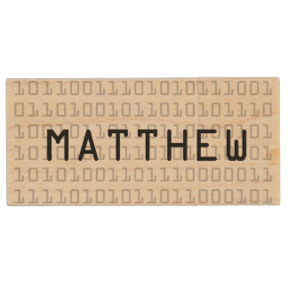 Fun and Cool Binary Code Personalized Wood USB 2.0 Flash Drive