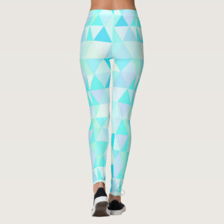 Fun and Cool Sporty Tiled Blue triangles Pattern Leggings