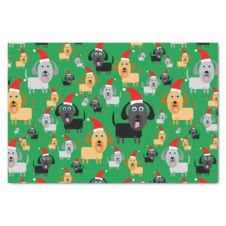 "Fun and Cute Puppy Dogs in Santa Hats 10"" X 15"" Tissue Paper"