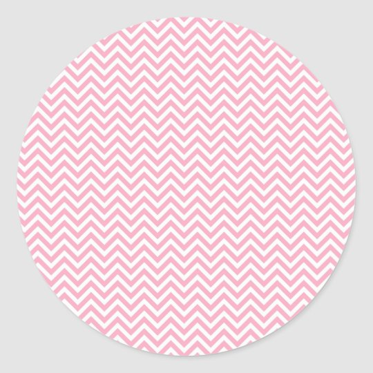 Fun and Modern Pink and White Chevron Pattern Classic Round Sticker