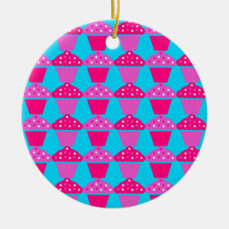 Fun and Sassy Hot Pink and Purple Cupcakes Round Ceramic Ornament