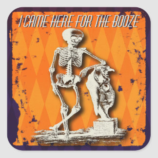 Fun and SIlly Halloween Skeleton Square Sticker