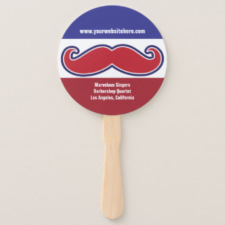 Fun and Silly Red,White & Blue Barbershop Mustache Hand Fan