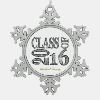 Fun and Simple Pen Sketch Class of 2016 Graduation Snowflake Pewter Christmas Ornament