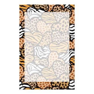 Fun animal pattern hearts stationery