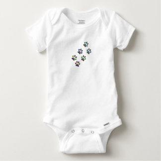 Fun animal paw prints. baby onesie