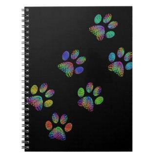 Fun animal paw prints. spiral notebook