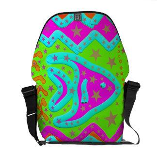Fun Aquatic Fish Stars Colorful Kids Doodle Courier Bag