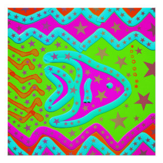 Fun Aquatic Fish Stars Colorful Kids Doodle Poster