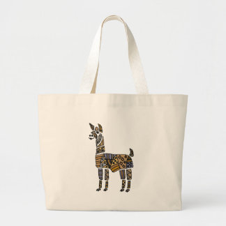 Fun Artistic Llama Art Large Tote Bag
