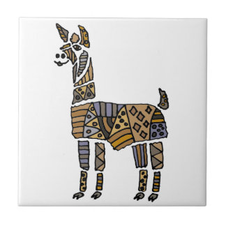 Fun Artistic Llama Art Tile