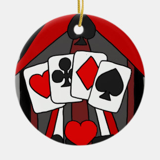 Fun Artistic Playing Cards Abstract Art Round Ceramic Ornament