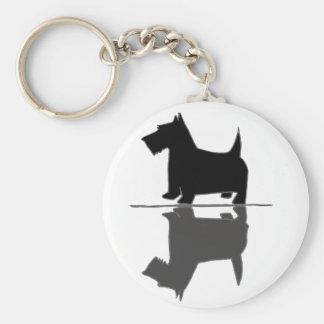 Fun Artistic Scottish Terrier Reflections Basic Round Button Keychain