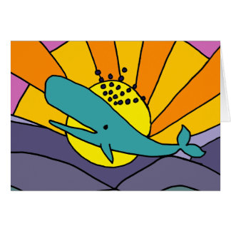 Fun Artistic Whale and Sun Abstract Art Card