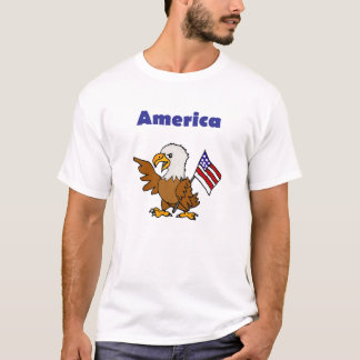 Fun Artsy American Eagle holding Flag Shirt