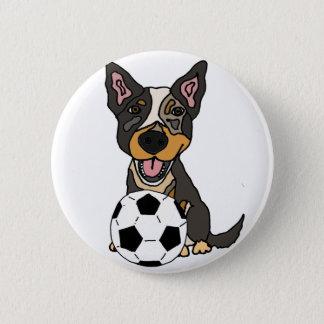 Fun Australian Cattle Dog Soccer Artwork 2 Inch Round Button