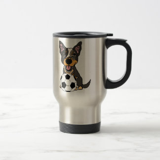 Fun Australian Cattle Dog Soccer Artwork Travel Mug