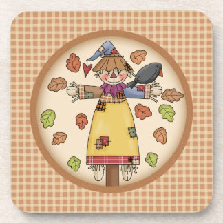Fun Autumn or Fall Scarecrow on a Plaid Pattern Drink Coasters