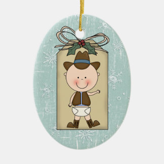 Fun Baby Boy Toddler Child Cowboy Gift Tag Ceramic Ornament