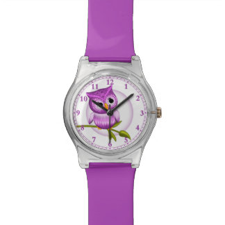 Fun Baby Owl Wrist Watch In Purple