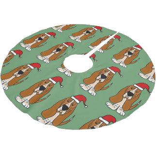 Fun Basset Hound in Santa Hat Christmas Tree Skirt