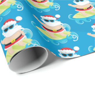 Fun beach surfing Christmas Santa wrap party Wrapping Paper