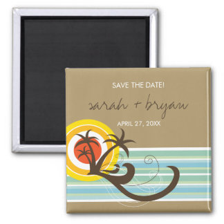 Fun Beach Tropical Sunset Palm Trees Save The Date Magnet