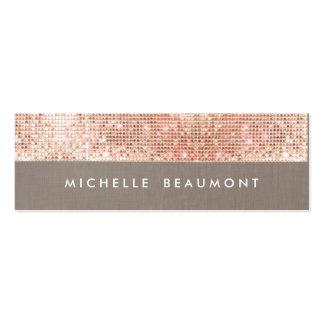 Fun Beauty and Fashion Chic Faux Copper Sequin Mini Business Card